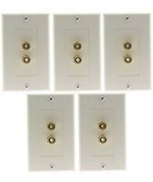 5x White 2 Port Home Theater Speaker Banana Plug Binding Post Wall Plate