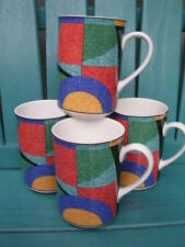 "victoria beale SET 4 X 4 1/4"" CASUAL ACCENTS COFFEE MUGS 9019 GEOMETRIC ART DECO"