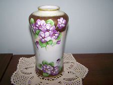 Vtg Antique Hand Painted Nippon Tall Vase with Violets and Gilt Trim - 602
