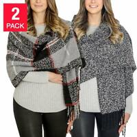 Emanuel Geraldo 2-Pack Warm Infinity Scarf 1139195 Red Plaid Gray One Size AS IS