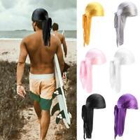 Unisex Men Women Bandana Durag Headwear Soft Silk Pirate Cap Wrap Hat