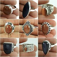 Natural Sunstone Ring 925 Sterling Solid Silver Ethnic Handmade Jewelry Size 7