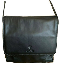 Joop! Black Leather Messenger Bag Purse Womens Excellent Condition!