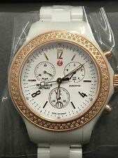 New  Rose Women's Michele MWW17B000008 Diamond Jetway white Ceramic watch $2095