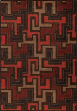"5x8 Milliken Junctions Red Umber Modern Maze Area Rug - Approx 5'4""x7'8"""