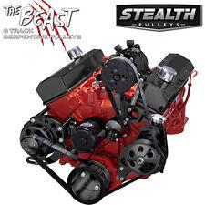 Black SBC Serpentine Conversion Kit - AC & Power Steering, Electric Water Pump