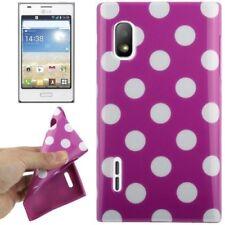 TPU Case für LG E610 Optimus L5 in lila mit weißen Punkten Etui Hülle Schutzcase