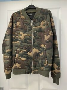 Zara Man Camouflage Bomber Jacket Sz L Vgc
