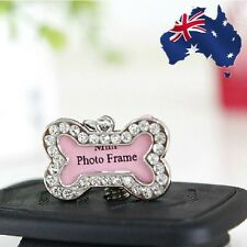 Dog Cat Pet Charms Tags Mini Photo Frame Crystal Bone Shaped PDTAG0101