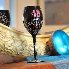 EXCLUSIVE Handpainted 18 Birthday Novelty Rhinestone Wine Champagne Glass Gift