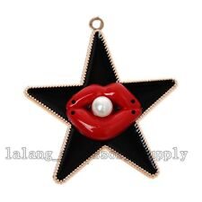 5x New Acrylic UV Gold Plated Black Enamel Star Red Lip&Pearls Pendants Charms L