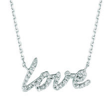 0.20 Carat Natural Diamond Love Necklace Pendant 14K White Gold G SI 18 inches