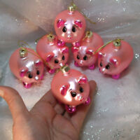 6 Lucky Pigs Glass Christmas Ornaments lot  New Year Miss Piggy Vintage Germany