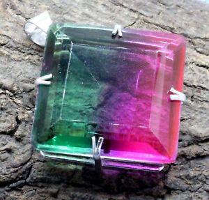 "925 Sterling Silver Tourmaline Gemstone Handmade Jewelry Pendant Size-1.80"""