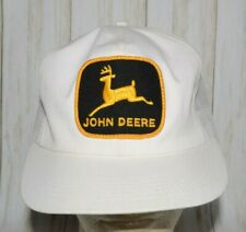 John Deere K Products Black Yellow Patch Mesh White Trucker Hat Snapback Vintage