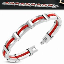 Bracelet With Link Panther Stainless Steel With Rubber Red 191