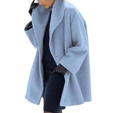 Winter Women Coat Woolen Warm Outwear Long Sleeve Jacket Casual Solid Overcoat