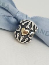 Authentic Pandora Sterling Silver & 14ct Gold HATCHED HEART Charm 790430 RRP $79