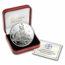 2014 1 Crown Isle Of Man Snowshoe Cat 1 oz .999 Silver Proof Box & Coa Ag