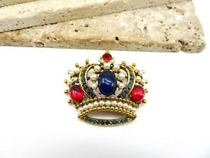 Vintage Signed Weiss Red Blue Rhinestone Faux Pearl Crown Brooch Pin VV17
