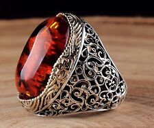 Turkish Handmade 925 Sterling Silver SPECIAL Amber Mens Ring Sz 11 Free Resize