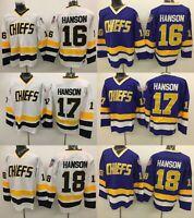 Custom Hanson Brothers #16 #17 #18 Charlestown Chiefs Hockey Jerseys Slap Shot