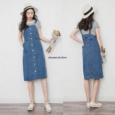 New Korean Women Casual Loose Denim Jeans Strap Skirt Overall Jumper Tunic Dress