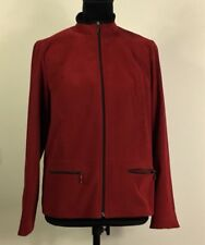 Women's Size 8 Petite Dark Red Jacket Zip Up Collared JM Collection Shirt EUC