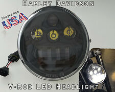 Black - HARLEY VRSC Vrod V-rod LED OVAL Headlight Daymaker V rod 2002-2017