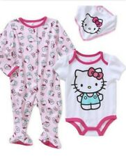 NEW 3 PIECES HELLO KITTY BABY GIRL'S FOOTED SLEEPER, BODYSUIT & BIB SZ 6-9 M