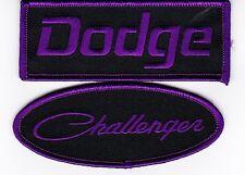DODGE CHALLENGER BLACK PURPLE SEW/IRON ON PATCH EMBROIDERED HEMI MOPAR CAR
