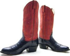 WOMENS VTG RED BLUE JUSTIN 5407 FANCY LEATHER DRESS COWBOY WESTERN BOOTS 7B 7 B