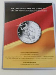6 x 10 Euro 2011 BRD Gedenkmünzen Set komplett  im MDM Folder Top
