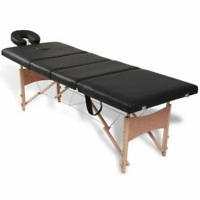 New 4 Zones Fold Portable Wood Massage Table Black Heavy Duty Wooden Frame