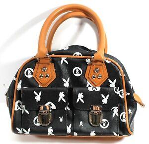 Playboy Bunny Logo Bag Women's Monogram Satchel Black and Tan