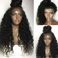 Deep Wave Curly Lace Front Wig 100% Pure 9A 1B Malaysian Virgin Human Hair Wigs