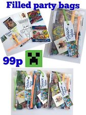 Minecraft party bags,pre filled sweets,tattoo,colouring,boys girls mine craft