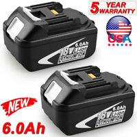2Pack BL1860 6.0Ah For Makita LXT Li-Ion Battery 18V BL1840 BL1830 Power Battery