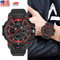 SANDA Men Fashion Military Sport Dual Time Waterproof Digital Analog Wrist Watch