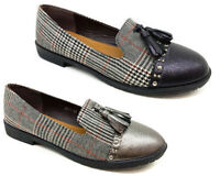 New Women Lady Flat Casual Office Work Pump Designer Styles Loafers Shoes check