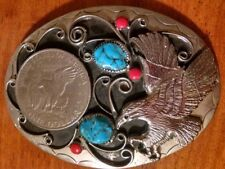 Handcrafted One Dollar Coin & Eagle Belt Buckle w/ Turquoise & Coral (Item#EJ9)