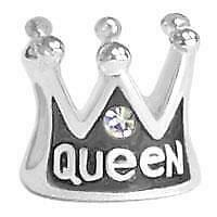 925 Sterling Silver Crown ' Queen ' & Cubic Zirconia Front & Back Charm Bead New