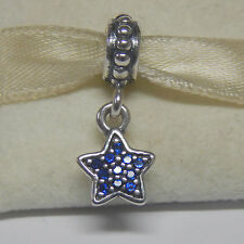 New Authentic Pandora Charm 791024CZB Dangle Blue Pave Star Box Included