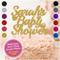 PERSONALISED Baby Shower Cake Toppers Girl Boy Reveal Glitter 3mm Acrylic Custom