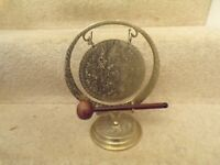 """Vintage / early brass dinner gong with striker. 10"""" X 8"""""""