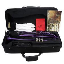 Trumpet Bb B Flat Brass Exquisite Purple with Case +Accessories Kit Purple