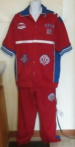 Fubu Collection red Warm-Up shirt And break away Pants Set size L Large y2