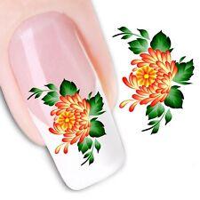Nail Art de transferencia de agua Pegatina Flores Naranja Pegatinas Calcomanías (XF1100)