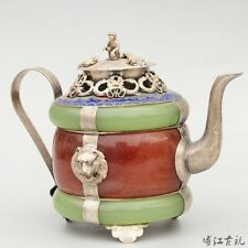Collectable China Cloisonne Armour Jade Carve Dragon Delicate Bring Luck Tea Pot