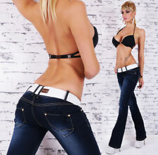 Women's Hipster Bootcut Jeans Blue Wash Low Cut Pants Inc white Belt Size 6-14